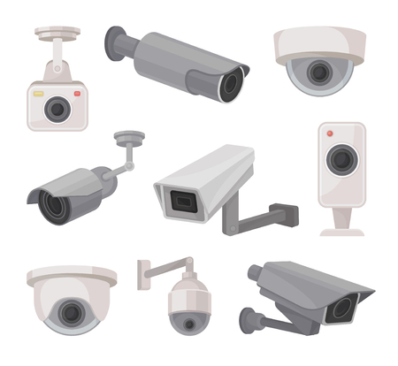 Surveillance camera outdoors and indoors. Video monitoring. CCTV concept. Vector flat illustration.