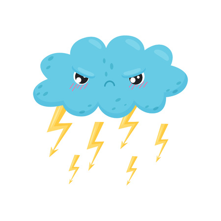 Angry thundercloud with lightning on white background. Thunderstorm concept. Weather forecast and funny emotion. Meteorology and season. Features weather and cute cartoon face. Vector flat illustration. Vector Illustration