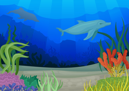 Dolphins and underwater world. Seascapes concept. Seabed and coral reef. Vector flat illustration. Ilustração