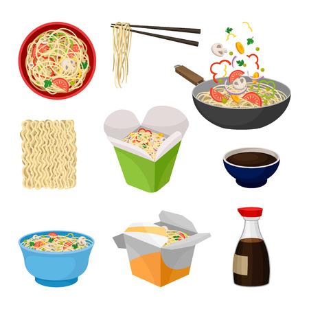 Nouilles cuisine orientale traditionnelle. Notion de wok. Plats à emporter oriental. Culture et traditions asiatiques. Plate illustration vectorielle.