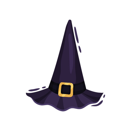 Witch hat with buckle on white background. Traditional wizard cap. Decoration for Halloween holiday. Vector flat illustration. Illustration