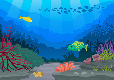 Exotic fish and underwater world. Ocean flora and fauna. Seascapes concept. Vector flat illustration. Stock Vector - 119889030