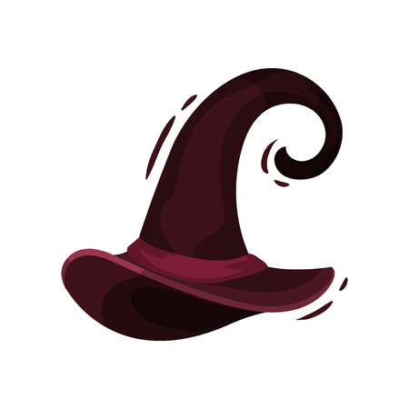 Witch hat burgundy color on white background. Traditional wizard cap. Decoration for Halloween holiday. Vector flat illustration. Illustration