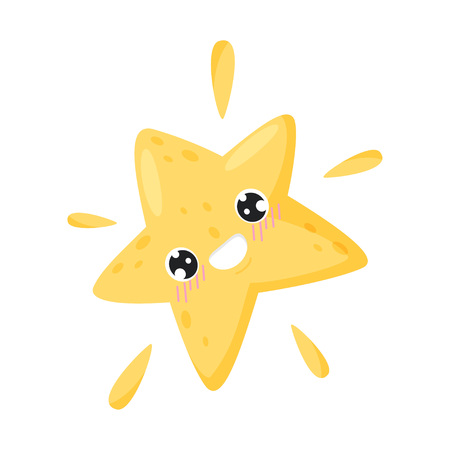 Smiling star on white background. Weather forecast and funny emotion. Meteorology and season. Features weather and cute cartoon face. Vector flat illustration.
