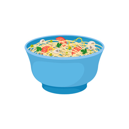 Noodles with vegetables in blue bowl on white background. Wok concept. Traditional oriental food. Asian culture and traditions. Vector flat illustration.