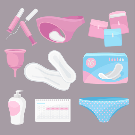 Collection daily hygiene products. Modern personal care for women. Menstruation concept. Vector flat illustration.