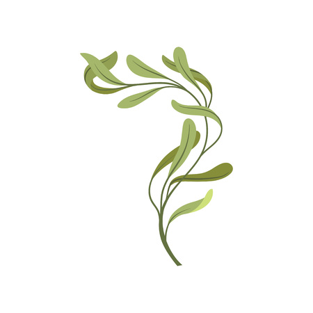 Cartoon young tree branch with green foliage. Nature and plants. Trees and shrubs. Flora concept. Vector flat illustration.