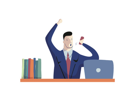 Angry businessman shouts into phone. Business and workplace concept. Office work day. Vector flat illustration.