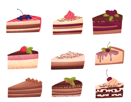 Cakes collection on white background. Bakery concept. Piece of sweet cake. Homemade birthday cake. Delicious dessert. Vector flat illustration.