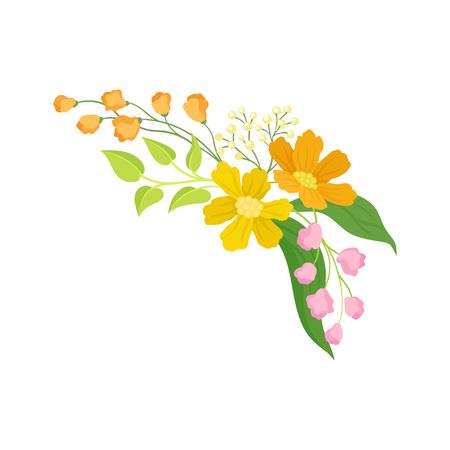 Fiori su sfondo bianco. Primavera e concetto floreale. Natura e fiori di campo. Illustrazione piana di vettore.