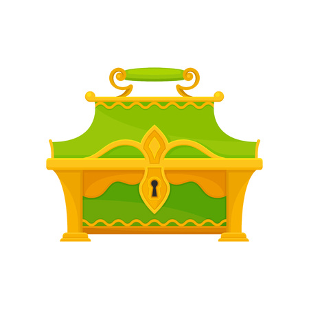 Green chest on white background. Vintage decor element. Closed chest in retro style. Vector flat illustration.