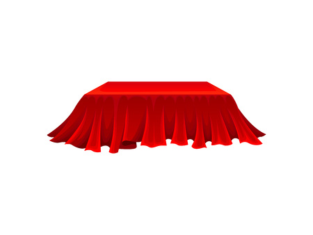 Rectangular box under red cloth on white background. Secret gift under satin fabric. Magic and mystery concept. Vector flat illustration.