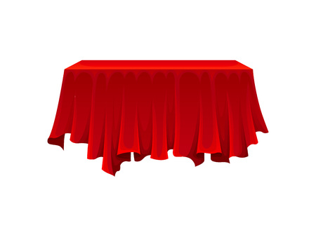 Rectangular table under red silk cloth on white background. Secret gift under satin fabric. Magic and mystery concept. Vector flat illustration.