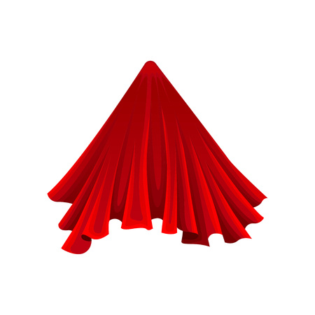 Cone under red silk cloth on white background. Secret gift under satin fabric. Magic and mystery concept. Vector flat illustration. Vettoriali