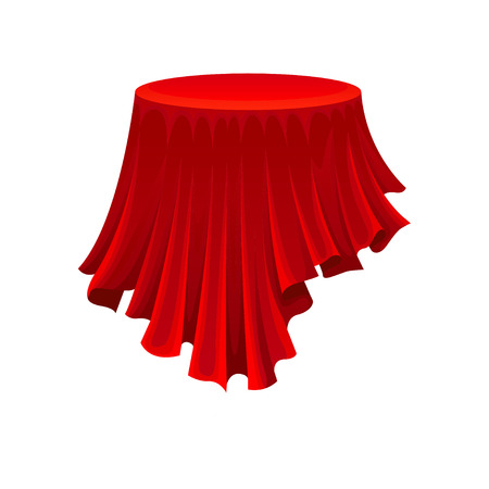 Round table under red cloth on white background. Secret gift under silk fabric. Magic and mystery concept. Vector flat illustration. Vettoriali