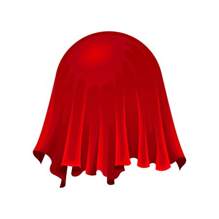 Piłka lub kula ziemska pod czerwonym jedwabnym płótnem na białym tle. Sekretny prezent pod satynową tkaniną. Koncepcja magii i tajemnicy. Płaskie ilustracji wektorowych.