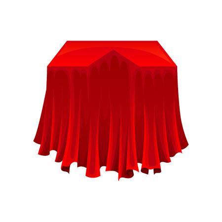 Geheimes Geschenk unter rotem Seidentuch auf weißem Hintergrund. Präsentationskonzept. Magie und Mystery-Konzept. Flache Vektorgrafik. Vektorgrafik