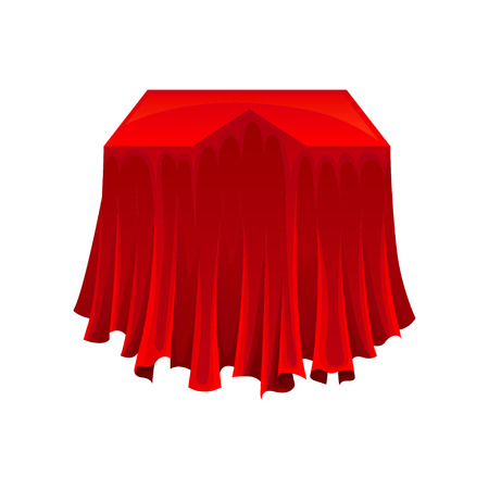 Regalo segreto sotto un panno di seta rosso su sfondo bianco. Concetto di presentazione. Magia e concetto di mistero. Illustrazione piana di vettore. Vettoriali