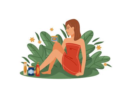 Mädchen mit Schönheitsprodukten auf weißem Hintergrund. Bio-Kosmetikkonzept. Moderne Kosmetik und Hautpflege. Flache Vektorgrafik. Vektorgrafik