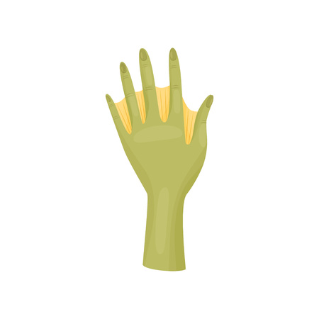 Amphibian man hand on white background. Green webbed arm. Vector flat illustration.