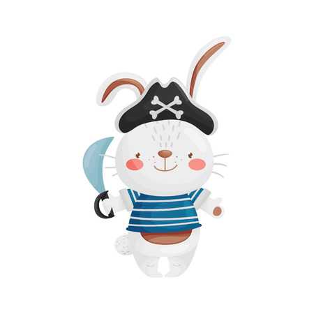 The hare is a pirate character in a cartoon style, in a blue white vest, black pirate hat with a saber in his hand. Cute little bandit. Vector illustration, isolated on white background.