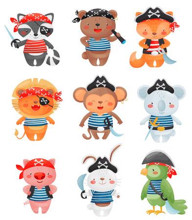 Personaggi animali pirati in stile cartone animato. Set di simpatici pirati divertenti illustrazione vettoriale. Procione, orso, volpe, leone, scimmia, koala, maiale, lepre pappagallo Vettoriali