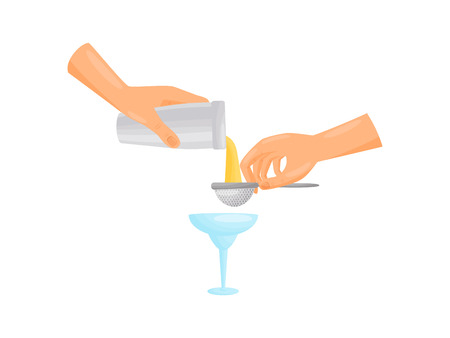 Silhouette hands barman pours through the filter in a blue glass filter. Vector illustration. Stock Illustratie