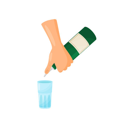 Silhouetted hands of a bartender pours from a green bottle with a label through a geyser into a blue glass. Vector illustration. Иллюстрация