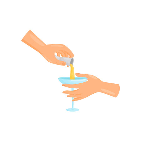 Barman hand pours margarita from a jigger into a blue glass. Vector illustration. 向量圖像