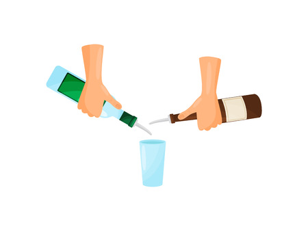Hands bartender poured out of the blue and brown bottle with a label into a glass. Vector illustration.