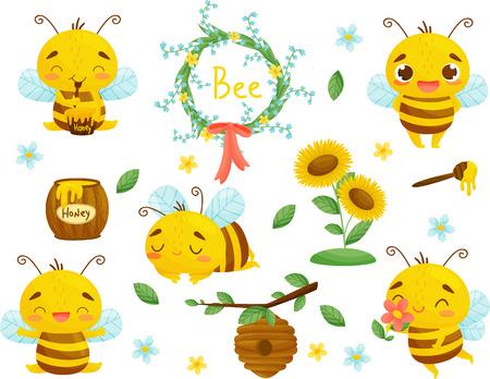 Ensemble d'illustrations d'abeilles, de miel et d'autres apicultures en style cartoon. Vecteur sur fond blanc.