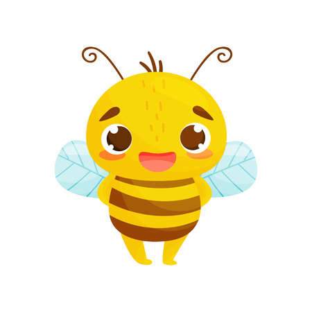 Bee in cartoon style. Humanized bee standing and smiling. Vector illustration on white background.