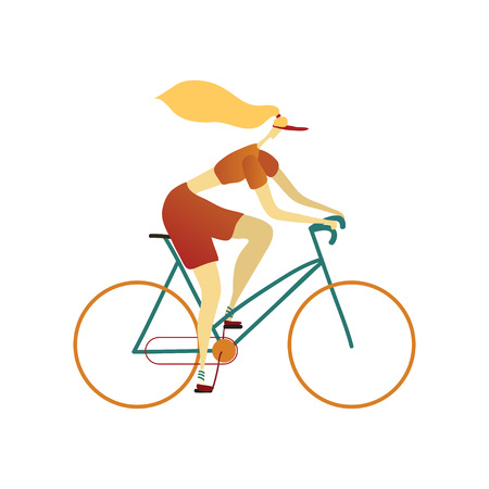 Woman in a cap, red shorts and t-shirt rides a blue city bike. Vector illustration on white background.