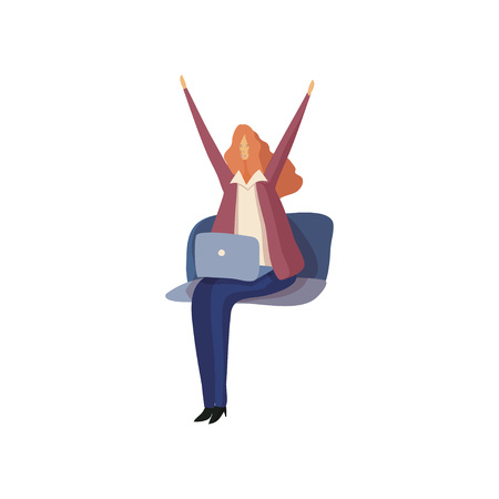 Business woman sitting with a laptop stretches. Vector illustration. Ilustração