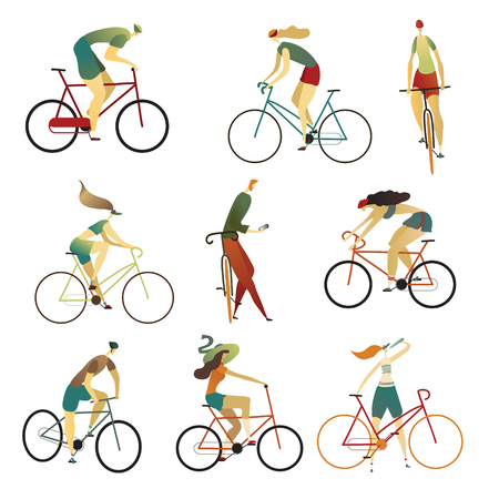 Collection of people riding bicycles of various types - city, bmx, single speed, fixed gear.. Set of cartoon men and women on bikes. Colorful vector illustration on a white background. Illustration