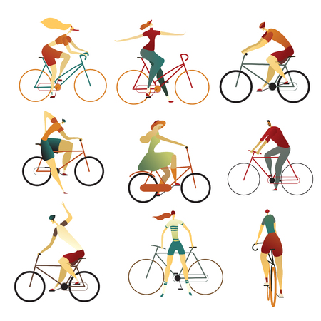 Collection of people riding bicycles of various types - city, bmx, hybrid, cruiser, single speed, fixed gear.. Set of cartoon men and women on bikes. Colorful vector illustration on a white background. Vector Illustratie