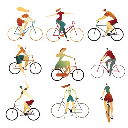 Raccolta di persone in sella a biciclette di vario tipo - città, bmx, ibride, cruiser, single speed, fixed gear.. Set di uomini e donne dei cartoni animati in bicicletta. Illustrazione vettoriale colorato su sfondo bianco. Vettoriali