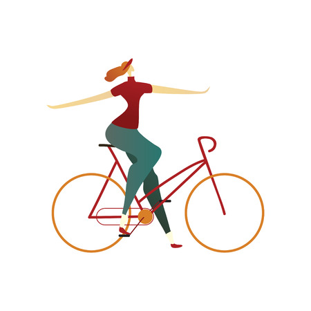 Woman in blue pants, red T-shirt and cap sitting on the bike and keep his hands to the sides. Vector illustration on white background.
