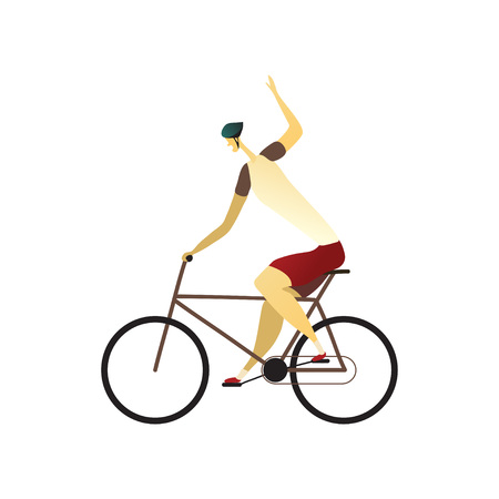 Man rides a bicycle in a helmet, shorts and a T-shirt. Hand shows a turn to the right. Vector illustration.