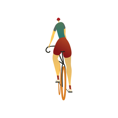 Man in a helmet, red shorts and a green T-shirt rides a bicycle. View from the back. Vector illustration on white background. Çizim
