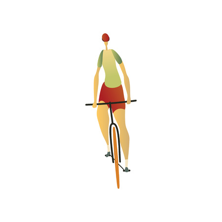 Man in a helmet, red shorts and a green jersey rides a bicycle forward. Vector illustration on white background.