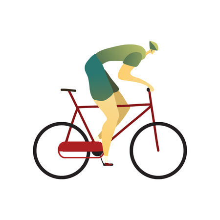 Man in a helmet, blue shorts and a green T-shirt rides a bicycle to the right. Vector illustration on white background.