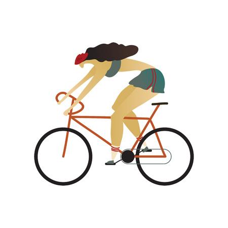 Chica del casco monta rápidamente en bicicleta. Ilustración vectorial. Ilustración de vector