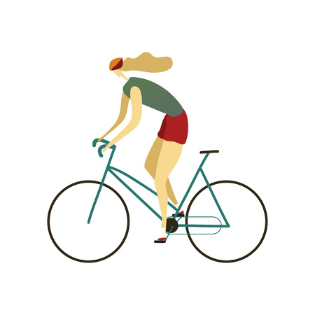 Girl in a helmet, shorts and a T-shirt quickly rides a bicycle to the left. Vector illustration on white background. Illustration