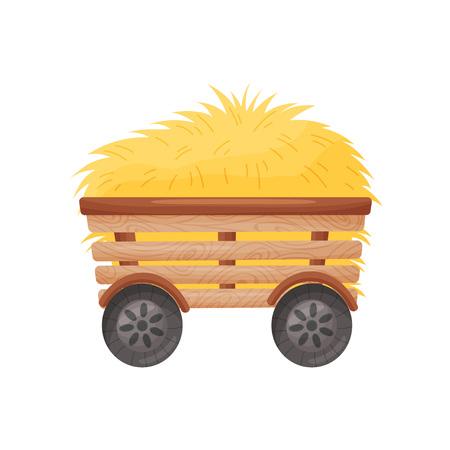 Chariot en bois à quatre roues avec du foin. Illustration vectorielle sur fond blanc.