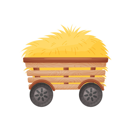 Wooden four-wheel cart with hay. Vector illustration on white background. Ilustracja