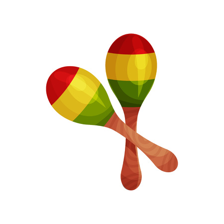Maracas made of wood, red, yellow, green. The national musical instrument of Brazil, Mexico, Cuba. Vector illustration