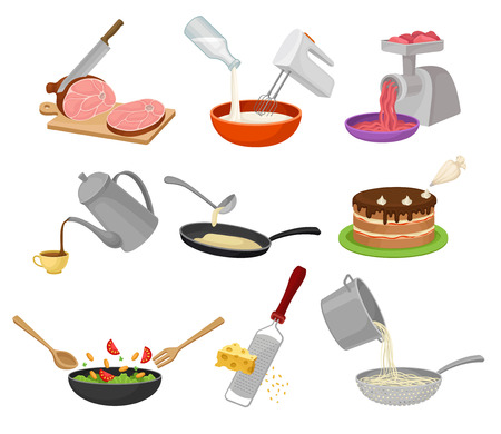 Set the cooking process. Slicing meat, meat grinder, mixer, pour coffee, fry pancakes, decorate a cake, grater, cook spaghetti. Vector illustration on white background.