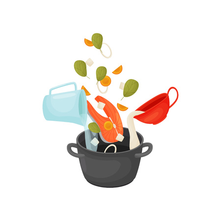 Cook the soup with fish and vegetables. Ingredients are poured into the pan. Vector illustration on white background.