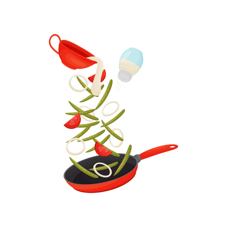 Green bean pods are fried with vegetables in a red frying pan. Pour the sauce from the red jug. Vector illustration on white background. 向量圖像